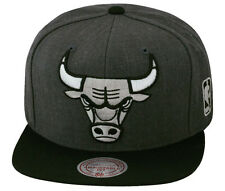 Mitchell & Ness Chicago Bulls Snapback Hat Cap Dark Heather Grey/Black/Silver XL