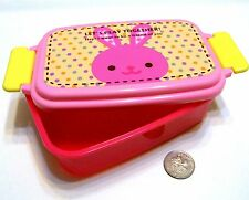 i0043 Microwave Bento PINK RABBIT Kids 15x10x6cm Lunch Box Container 520ml NEW