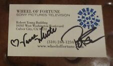 Vanna White & Pat Sajak dual signed autographed business card Wheel of Fortune