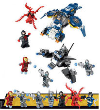 Avengers 2 Age of Ultron vs Iron Man 2 Airplanes + 7 Mini Figures Fits with Lego