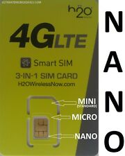 H2O Wireless NANO SIM Card BRAND NEW 4G LTE for AT&T & Unlocked Cell Phones H20