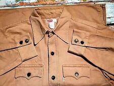 VINTAGE 1960`S LEVI BIG E THICK CAMEL DENIM WORK SHIRT / JACKET  USA LARGE
