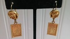 Vintage Looney Tunes Goldtone Metal Bugs Bunny .32 Stamp Wire Pierced Earrings