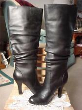 NIB~SOFFT BELFAST~BLACK KNEE HIGH GENUINE LEATHER BOOTS HEELS~5M~LEATHER LINE