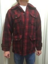 VTG 50s Woolrich Mens Red Plaid Wool Heavy Hunting Jacket Coat mackinaw size 38