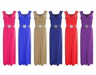 Ladies NEW Evening Tie Back Belted Buckle Long Maxi Party Plus Size Dress 16-26