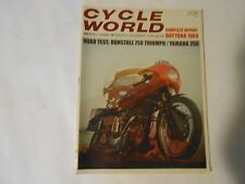 JUNE 1969 CYCLE WORLD MAGAZINE,YANAHA 250,DUNSTALL 750 TRIUMPH,DAYTONA,MINT 400,