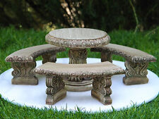 Miniature Dollhouse FAIRY GARDEN Furniture ~ Antiqued Table & Bench Set  ~ NEW