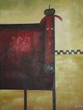 funky chien huile peinture toile moderne contemporain mignon enfants pièce rouge