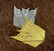 Car Metal Luminous Light Grille Badge Emblem Transformers Decepticon Gold Silver