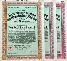 Set of 3pcs x UNCANCELLED Nazi War Bonds - 100, 500, 1000RM (CV: $899.85)