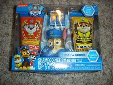 NEW Paw Patrol Chase dog Soap & Scrub set Shampoo body wash & bath scrubby