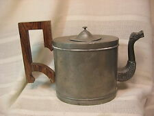 ANTIQUE PEWTER TEA POT WITH ETCHED SIDE DESIGNS, DRAGON HEAD SPOUT, WOOD HANDLE