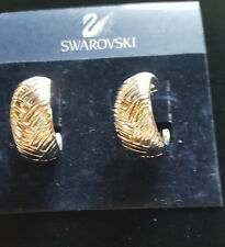 Swarovski SAL Signed  Silver Hoop Earrings