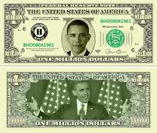 Barack Obama Million Dollars $ USA Money Bill President Stars Novelty Not Real