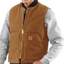 NWT 2XL Carhartt Sandstone Brown Vest Mens Insulated Work Barn Duck Quilt Lined
