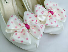 Ivory Shoe Clips 4 Shoes Ivory Pink Polkadot Dorothy Bows 4 Bridal Shoes Wedding