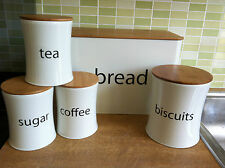 5PC KITCHEN STORAGE TEA COFFEE SUGAR CREAM CANISTERS STEEL TINS JARS BAMBOO LID