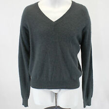 Lord & Taylor Exclusively For You 100% 2-Ply Cashmere Sweater Slate V-Neck Large