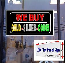 """24"""" x 48"""" LED Flat Panel Light box Sign -We Buy Gold- Silver Coins - Window Sign"""