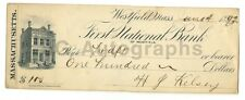 19th Century Banking - Vintage Check - Westfield, Massachusetts - 1892