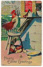 HEARTY EASTER GREETINGS Rooster Chickens Chicks in Hen House Vintage Postcard