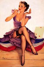 Framed Print - G Elvgren Pin Up Girl Sitting on Civil War Banner (Picture Poster