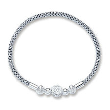 Sterling Silver Mesh Bracelet With Cryst.. Ball