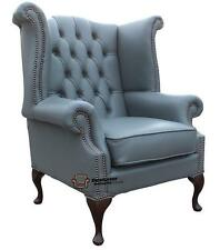 Chesterfield Armchair Queen Anne High Back Wing Chair Piping Grey Leather