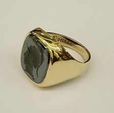 (1)BEAUTIFUL GENTS 9CT GOLD HEMATITE ONYX SIGNET SEAL CREST RING