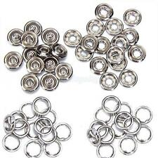 50 Sets 7/16 Inch Open Ring No Sew Snaps Fasteners Silver