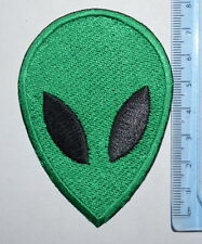 #744 green ALIEN FACE Embroidered Iron On /sew on Patch