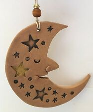 Signed Hand Built Stoneware Folk Art Moon Ornament Stephen Wise Design 4 In H