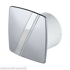 "Bathroom Extractor Fan 100mm / 4"" Timer Silver Satin Chrome Venttilator WLS100T"