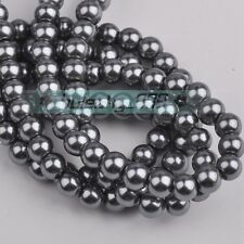 100pcs 6mm Round Glass Pearl Loose Spacer Beads Lot Free Shipping Dark Gray