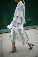 ZARA Silver Metallic Accordion Pleated Midi Skirt Size Small Bloggers