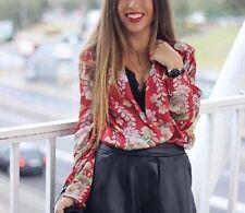 NWT ZARA Red Floral Silky Print Bodysuit Top Shirt Size S Ref.8172/989