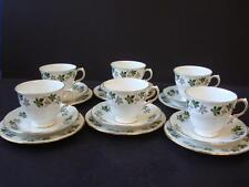 GAINSBOROUGH BONE CHINA GREEN AND SILVER GREY MAPLE LEAF 6 X TRIOS