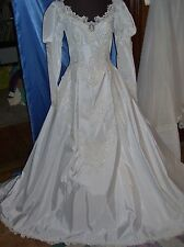 WHITE TAFFETA  Vintage, Antique Wedding Gown, Loaded detail, SCALLOPED TRAIN