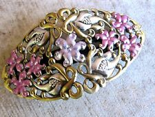 Vintage Filigree Barrette Enameled Brass Flower Petals French Clip Style USA