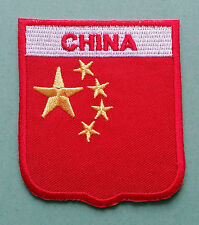 NATIONAL FLAG COUNTRY SHIELD SEW ON / IRON ON EMBROIDERED PATCH:- CHINA