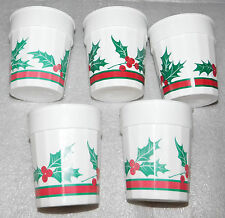 "NEW Set of 5 Holly Berries & Leaves White Plastic Cups 3-3/4"" High Christmas"