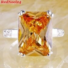 Royally Sublimatic Emerald Cut Morganite & White Topaz 925 SilverRing Size 9 - R