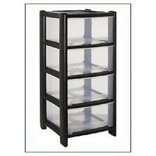 DEEP PLASTIC DRAWERS 4 HIGH / KITCHEN /BEDROOM /GARAGE MADE IN UK