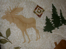 1 MOOSE Fish twin QUILT cabin flyfishING elk DEER bird canoe boat Bear COUNTRY
