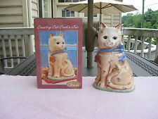 "Country Cat Ceramic Cookie Jar 12 1/4"" Tall~ By Gibson`New In The Box!"