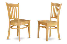 Set of 2 Groton dinette kitchen dining chairs with plain wood seat in light oak