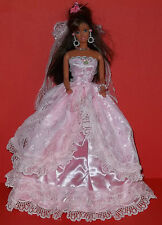 BARBIE SINDY DOLL DRESS BRIDE WEDDING GOWN CLOTHING, VEIL - BEAUTIFUL, PINK