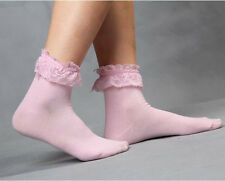 Women Fashion Lace Socks Princess Vintage Cute Girl Ruffle Frilly Ankle Socks