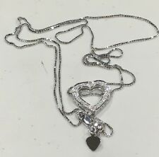 18k/750 White Gold Open Heart with Diamonds Necklace- 22""